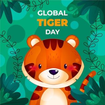 Detailed global tiger day illustration