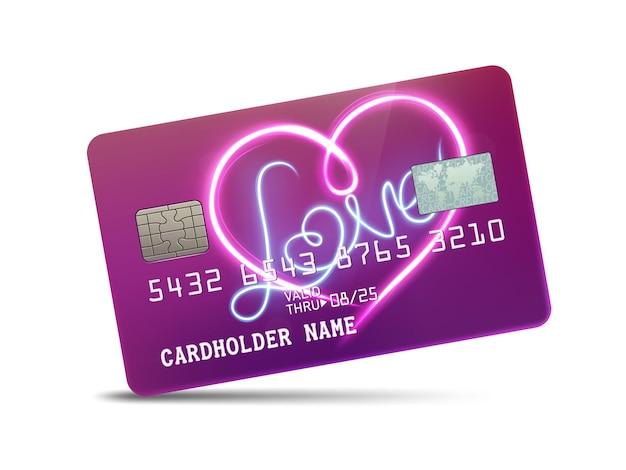 Подробная глянцевая платиновая кредитная карта с любовным неоновым светом.