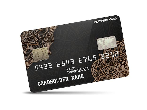 패턴 장식이 있는 자세한 광택 플래티넘 신용 카드