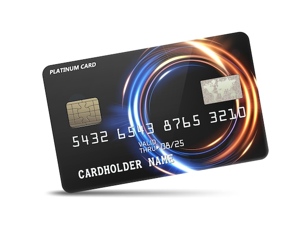 Detailed glossy platinum credit card with wavy neon light decoration vector