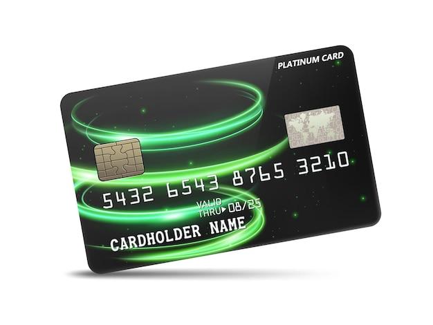 물결 모양의 네온 불빛 장식이 있는 자세한 광택 플래티넘 신용 카드 프리미엄 벡터