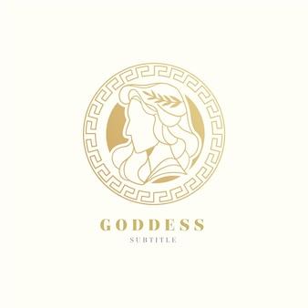 Detailed goddess logo template
