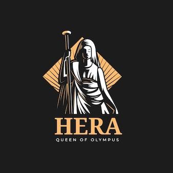 詳細な女神のロゴのテンプレート
