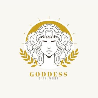 Подробный логотип богини с золотыми элементами