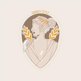 Detailed goddess logo with golden elements