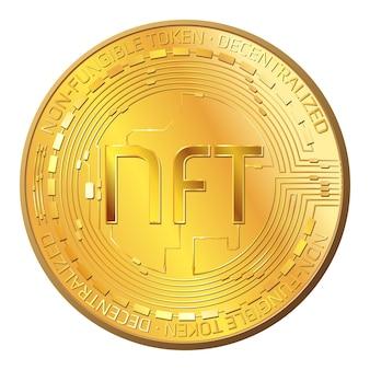 Подробная золотая монета nft невзаимозаменяемый токен, изолированные на белом. платите за уникальные предметы коллекционирования в играх или произведениях искусства. векторная иллюстрация.