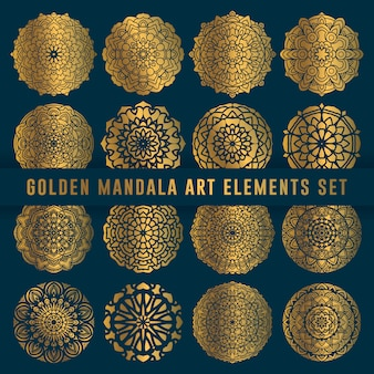 Detailed golden mandala art set element