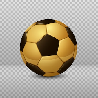 Detailed golden soccer ball isolated
