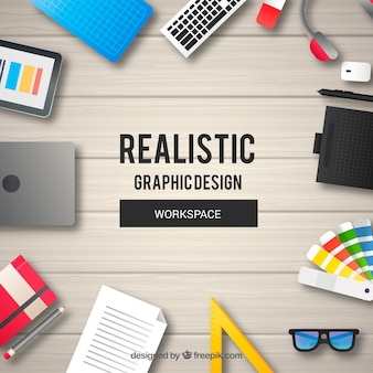 Detailed graphic design workspace