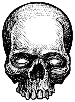 Detailed graphic hand drawn realistic black and white angry human skull with teeth. trash polka style. on white background. vector icon.