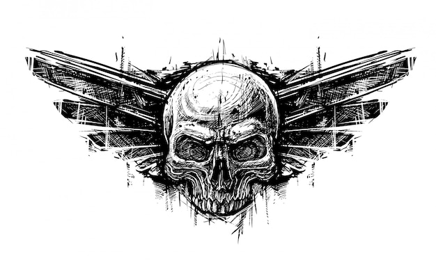 Detailed graphic hand drawn realistic black and white human skull with wings. trash polka style