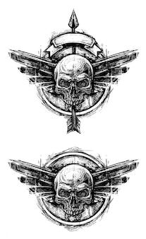 Detailed graphic human skull trash polka line art
