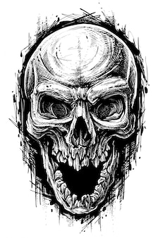 상세한 그래픽 인간의 두개골 쓰레기 폴카 라인 아트