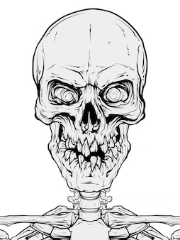 Detailed graphic human skull with broken teeth
