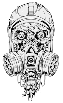 Detailed graphic human skull with gas mask
