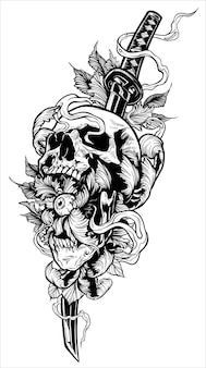 Katana 칼으로 상세한 그래픽 인간의 두개골
