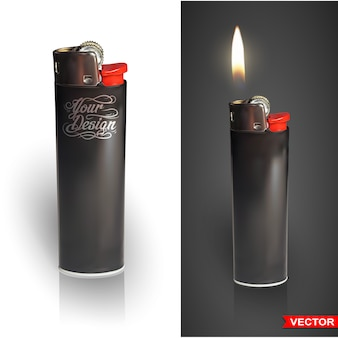 Detailed graphic photorealistic cigarette lighter