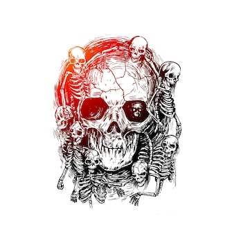 Detailed graphic realistic cool black and white human skulls