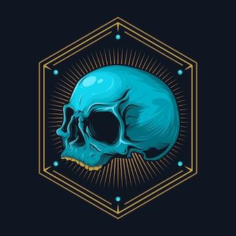 Подробный графический реалистичный человеческий череп с геометрической линией иллюстрации