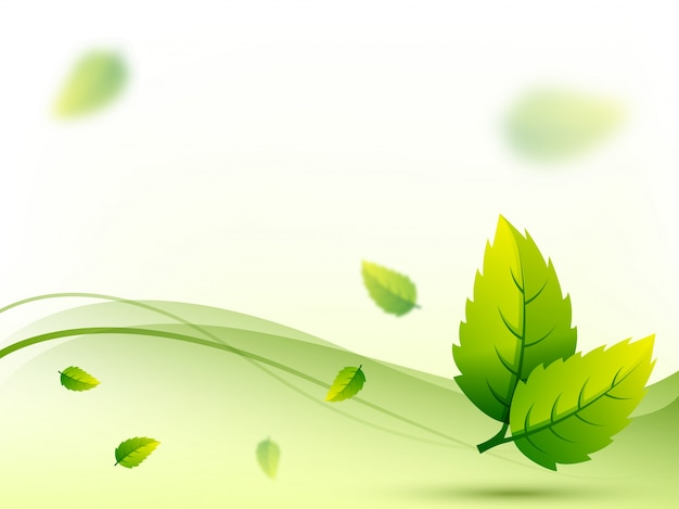 Detailed green leaves on wave background.
