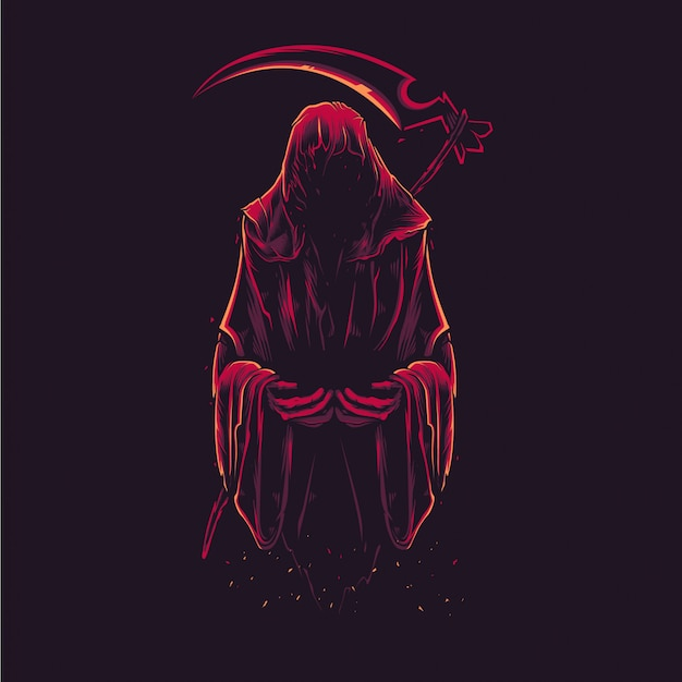 Detailed grim reaper illustration