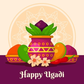 Detailed happy ugadi illustration