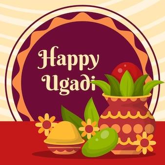 Detailed happy ugadi illustration