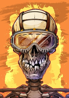 Detailed human skull with protective glasses