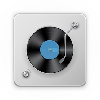 Подробная иконка ретро проигрывателя виниловых дисков