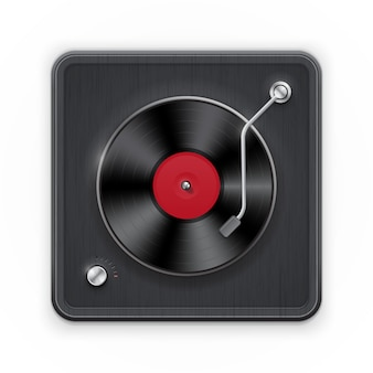 Detailed icon of the retro vinil record player with dark case