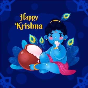 Detailed illustration of baby krishna eating butter