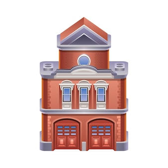 Detailed illustration of fire station icon. .