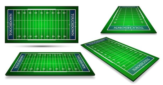異なる視点でのアメリカンフットボールのフィールドの詳細な図 Premiumベクター