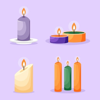 Detailed illustration scented candle pack