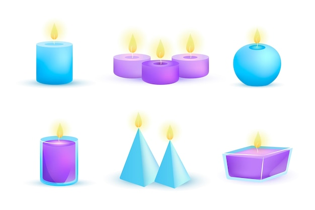 Detailed illustration scented candle set