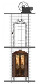 주거용 건물에 오래 된 금속 엘리베이터의 상세한 이미지.
