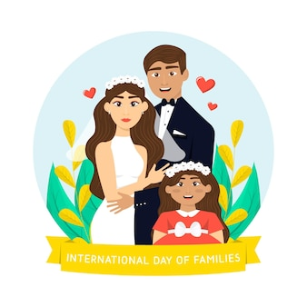 가족 그림의 상세한 국제 날