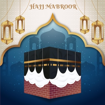 Detailed islamic hajj pilgrimage illustration