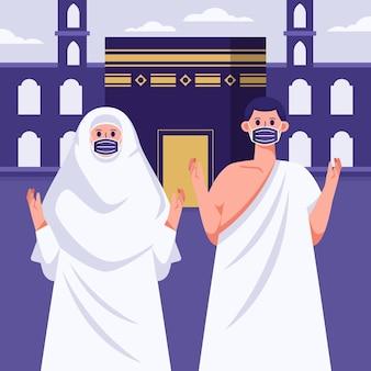 Подробная иллюстрация паломничества исламского хаджа