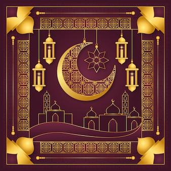 Подробная исламская новогодняя иллюстрация