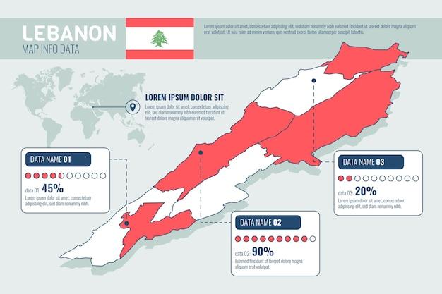 詳細な等尺性レバノン地図