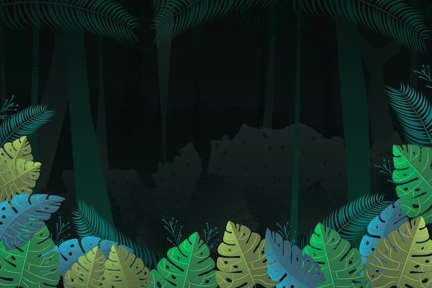 モンステラの葉と詳細なジャングルの背景