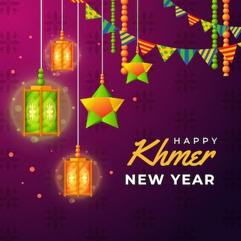Illustrazione dettagliata del nuovo anno khmer Vettore gratuito