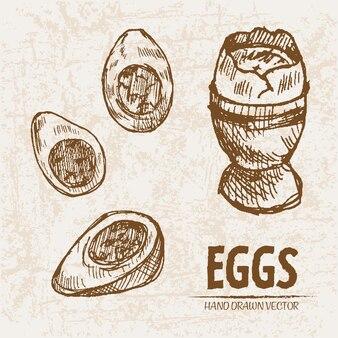 자세한 라인 아트 컵에 썰어 계란 요리