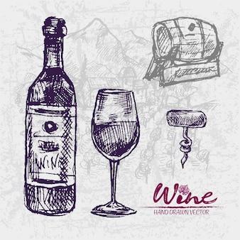 Подробный рисунок линии рисованной фиолетовой бутылки вина иллюстрации