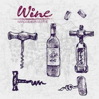 Detailed line art hand drawn purple wine bottle illustration