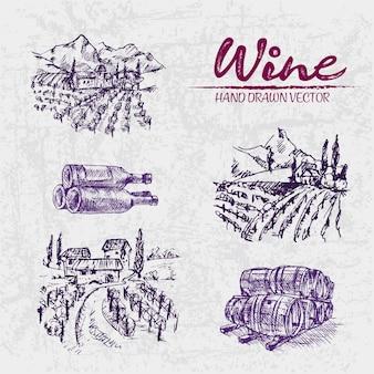 Detailed line art hand drawn purple winery illustration