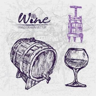Detailed line art hand drawn wine barrels illustration