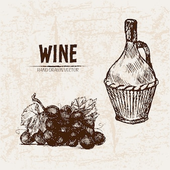 詳細なラインアート手描きのワインの瓶のイラスト