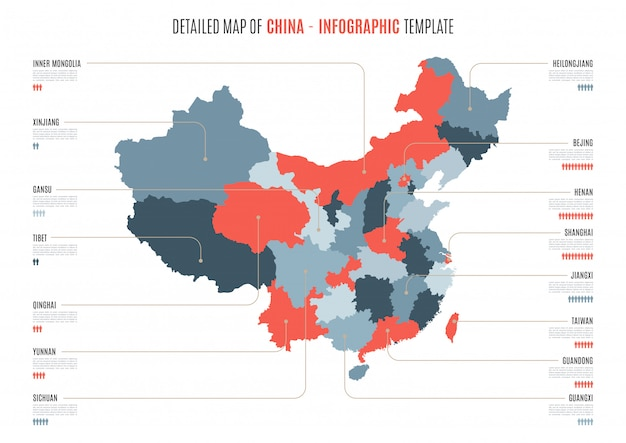 Detailed map of china.  template for infographics.